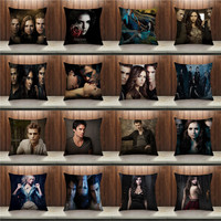 The Vampire Diaries Cushion Cover Cotton linen Square Invisible Zipper Pillow Case Sofa Bedroom Home Decorative Pillow Cover