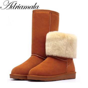 Adriamala Snow Boots Winter Women Shoes 2017 Cow Split Mid-calf Slip-on Shoe Round Toe Flat Leather Knee High Boots For Women