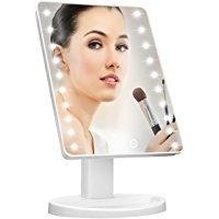 WanEway Makeup Mirror with 20 LED Light, 12-Inch Large Screen, Touch Dimmable and Memory Function, Black