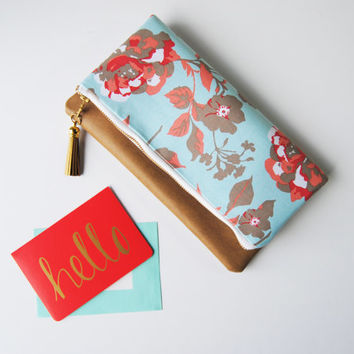 FLORAL FOLDOVER CLUTCH, floral zipper pouch, coral and pink flowers, classy clutch purse, leather accent pouch, iPad sleeve, kindle case