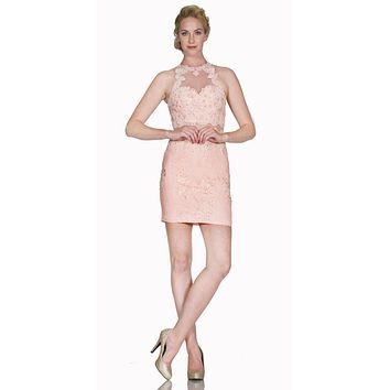 Halter Fitted Mini Cocktail Dress with Sheer Midriff Blush