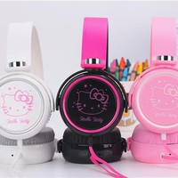 Cartoon earphone headset cute hello kitty headphones for Mobile Phone MP3/MP4/Computer for iphone samsung xiaomi, Girls headset