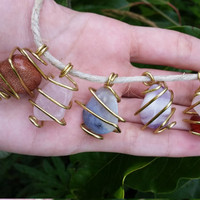 Handmade Geometric Wire Wrap Caged Crystals on Hemp