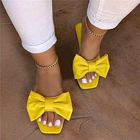 Hot summer new style bowknot flat bottom women slippers fresh shoes yellow