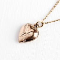 Vintage Heart Charm - Small Puffy Repousse Cupid's  Bow & Arrow Rose Gold Filled Necklace - Petite Romantic Pendant Jewelry on 14K GF Chain