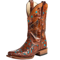 Women's Corral Dark Chedron Teal Handtooled Cowgirl Boots