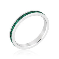 Stack Me Emerald - FINAL SALE Rhodium Plated Brass Ring With Round Cut Emerald Colored Swarovski Crystals