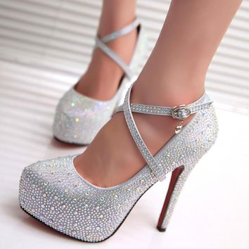 Round Toe Shinning Rhinestone Ankle Wraps Stiletto High Heels Party Shoes