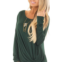 Forest Green Long Sleeve Tee Shirt with Front Twist