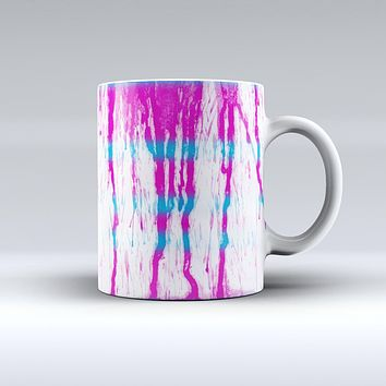 The Running Blue and Pink WaterColor Paint ink-Fuzed Ceramic Coffee Mug