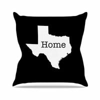 """Bruce Stanfield """"Texas State Outline"""" Black White Throw Pillow"""