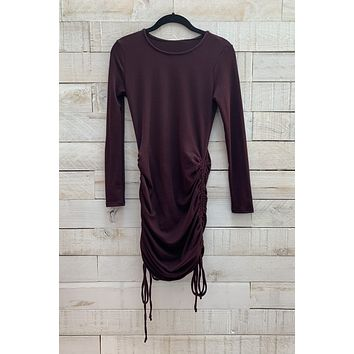 Ribbed Ruched Dress- Burgundy