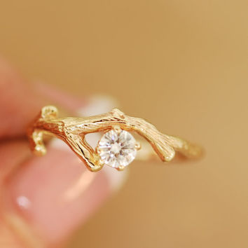 Moissanite Gold Bud Branch,twig ring,engagement ring,stone twig ring,branch ring