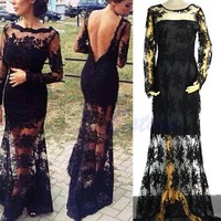 Sexy Women Slim Backless Lace Maxi Cocktail Evening Party Prom Long Vintag Dress