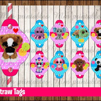 80% OFF SALE Beanie Boo's Straw Tags instant download,  Beanie Boo Straw Toppers, Beanie Boo's Party Straw Tags printable