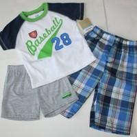 Carter's Boy's Comfy-Fit Sleepwear 3 Piece Pajama Set Baseball  for 12 Months