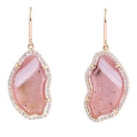 Karolin Pink agate geode stud pave diamond rose gold earrings