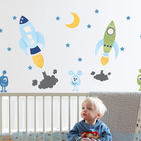 Outer Space Rocket Aliens Moon Stars Fabric Boys Kids Wall Decals Stickers - not vinyl