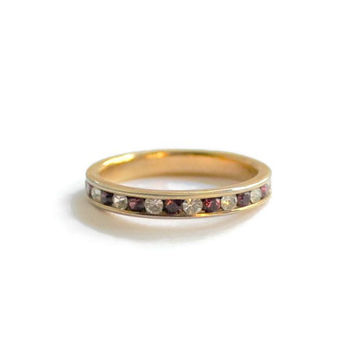 Burgundy And Clear Channel Set Eternity Ring In Gold Tone, Size  7