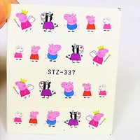 Waterdecal, Pink Peppa Pig nail Decals, set of 20 decals a sheet