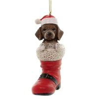 Holiday Ornaments GERMAN SHORTHAIR POINTER SANTA Boot Pet Parade D3449gp