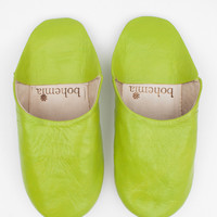 Moroccan Babouche Basic Slippers, Lime