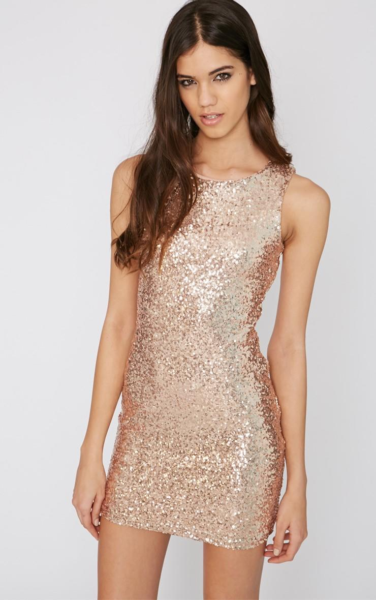 Emory Rose Gold Cut Out Sequin Dress From Pretty Little Thing