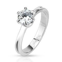 Stainless Steel Classic Prong Set CZ Solitaire Band Ring Engagement Friendship 3mm Band 6mm CZ