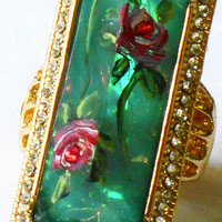 Rose Cocktail Rhinestone Ring Hand Painted Romantic Vintage Style Jewelry