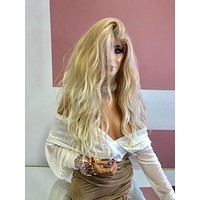 "Blond Swiss Lace Wig 18"" 219 