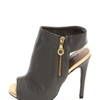 Gray Step it Up Sling Back Peep Toe Mules | $11.50 | Cheap Trendy Heels and Pumps Chic Discount Fas