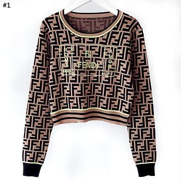 Fendi New Women's Fluorescent Embroidery Double F Letter Jacquard Knit Long Sleeve Top #1