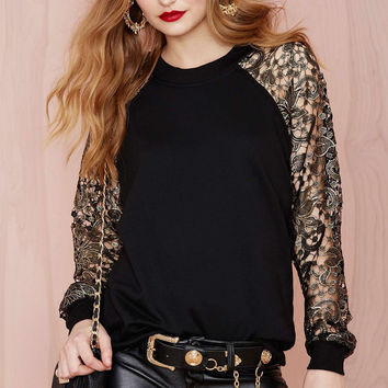Floral Lace Embroidered Long Sleeve Black Shirt