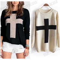 CHIC Womens Cross Pattern Knit Sweater Outerwear Crew Pullover Tops 3797