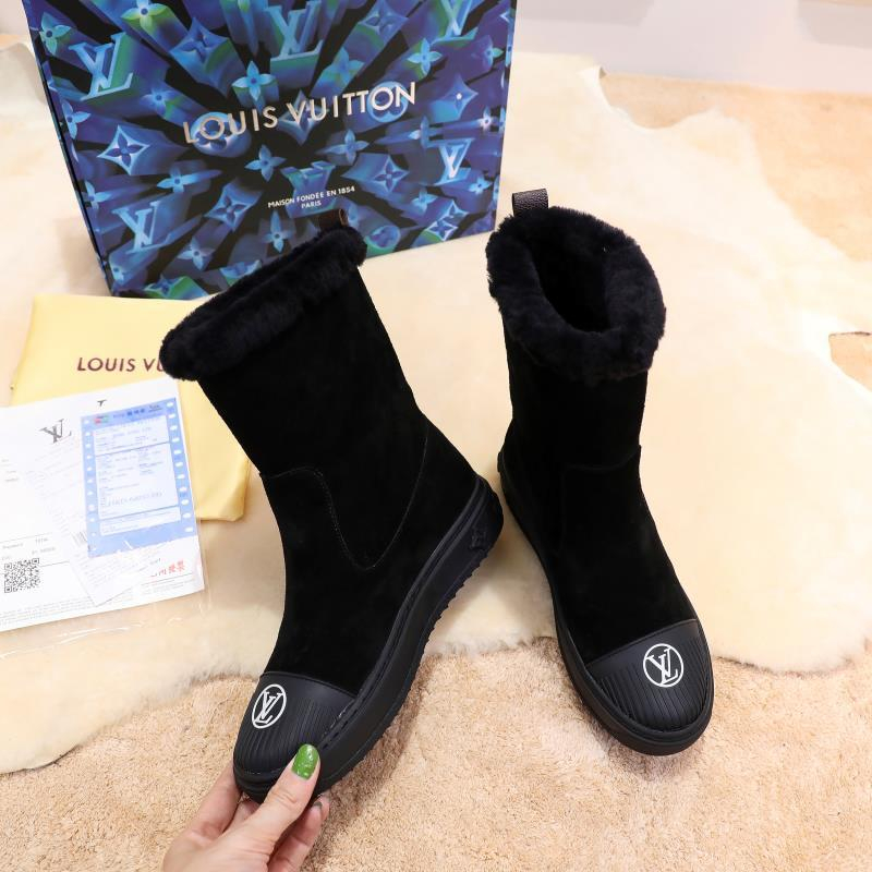 Image of LV Louis Vuitton Trending Women's men Leather Side Zip Lace-up Ankle Boots Shoes High Boots