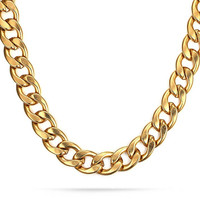 18K Gold Plated Stainless Steel Curb Link Chain Necklace for Men 11.5mm,24 Inches