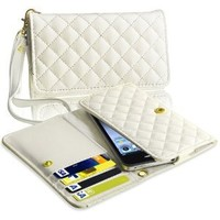 eForCity® White Leather Wallet Case compatible with the New Apple® iPhone® 5