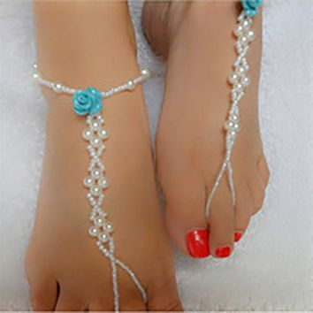 Blue Rose Pearl Barefoot Sandal Anklet, Beach Wedding Footwear