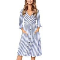Women Casual Dress Long Sleeve V-Neck Buttons Striped Dresses Lady Vintage Midi Dresses #BF
