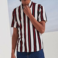Fashion Casual Men Striped Button Up Shirt