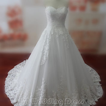 Real Samples Lace Wedding Dress Sweetheart Lace-up Bridal Gown