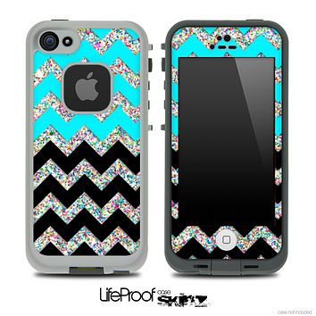Aqua Blue, Black and Colorful Dotted V2 Chevron Pattern Skin for the iPhone 5 or 4/4s LifeProof Case