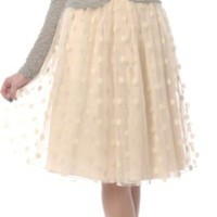 Polka Dot Lace Skirt in Cream or Dusty Pink