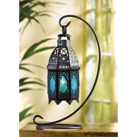 Sapphire Night Hanging Candle Lantern And Stand