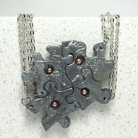 Puzzle Necklace Friendship Jewelry Set of 4 Necklaces Polymer Clay Leaf Design with Swarovski Pearls Set 166