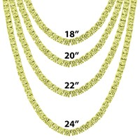 "4mm Canary One Row Tennis Rapper Necklace 18""-24"""