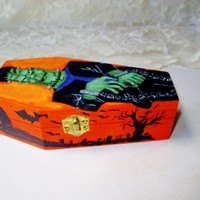 Frankenstein Graveyard Coffin Box Jewelry Trinket Stash Storage Box Wood Hand Painted Goth Spooky Halloween Monster Home Decor Collectible