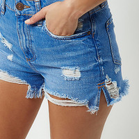 Denim distressed high waisted shorts - denim shorts - shorts - women