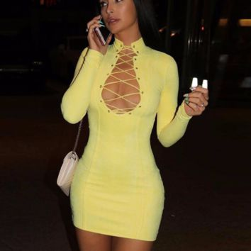 'Aaliyah' Yellow Cutout Bandage Dress - Canary