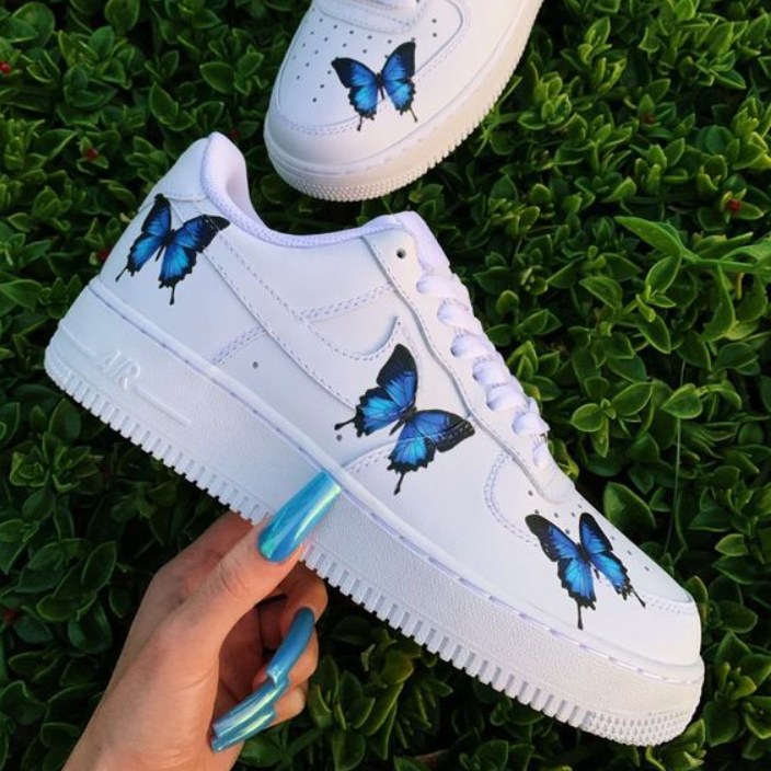 Image of Nike Air Force 1 men's and women's casual butterfly print low-top sneakers Shoes